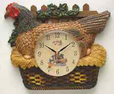 "New Kitchen CHICKEN / ROOSTER ""Farm Fresh"" Wall Clock HEN SAT ON EGGS NEW W5793"