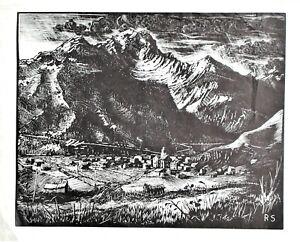 Richard Shell Colorado Artist Mountain Scene Wood Engraving (IV)