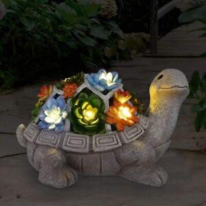 Solar Garden outdoor patio Turtle statue Ornament 7 LED colour Lights