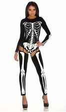 Womens Snazzy Skeleton Fancy Dress Costume Skeleton Bodysuit