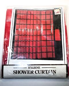 NOS Vtg 80s Red And Clear Checkered Retro SHOWER CURTAIN Hygiene Ind VINYL 70x72