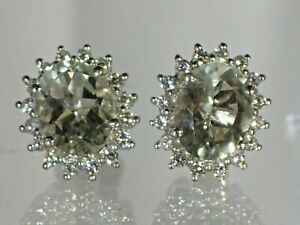 Green Amethyst White CZ, 14K Gold Plated on .925 Sterling Silver, Earrings #1298