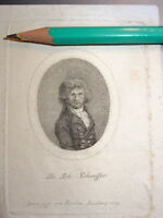 JF BIERLEIN (1768-1840) Gravure XVIII MINIATURE PORTRAIT SCHAEFFER NURNBERG 1793
