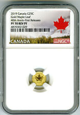 2019 CANADA G25C .9999 GOLD 40TH MAPLE LEAF NGC PF70 REVERSE PROOF RCM SOLD OUT