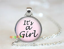 Pink it's A Girl glass dome Tibet silver Chain Pendant Necklace wholesale
