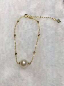 AAA 7-8mm natural south sea white round Pearl bracelet 18K Gold (w)