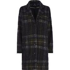 Julie Brandt Coco Grey Green Wool Blend Tartan Plaid Long Coat NWT Sz XS Women's