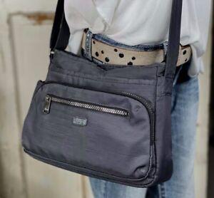 LUG Infinity Gray Nylon Shimmy Convertible Crossbody Purse Bag RFID $75 EUC!