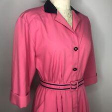 Vtg 80s Willi Of California Pink Blue Shirt Dress Sz 8 Shoulder Pads Made In Usa