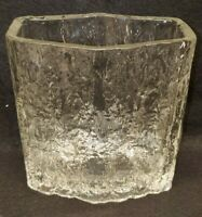 Mid century modern Rectangular Textured Vase Ice Crystal Danish design