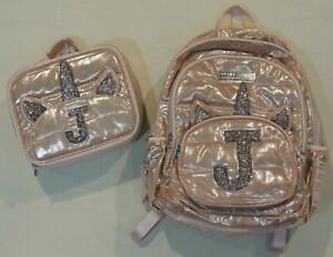 Justice Rose Gold Quilted Unicorn School Backpack Lunchbox Set Initial Letter J