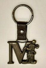 Mickey Mouse Letter M Brass Keychain Disney Keyring Key Ring Chain collectible