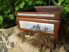 Ancien cache pot jardinière en bois Asiatique décor paysage