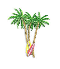 Palm Tree - Surfboard - Tropical - Surfing - Embroidered Iron On Applique Patch