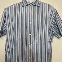 Banana Republic Men's Shirt EUC Multicolor Stripe Short Sleeve Button Up Size L