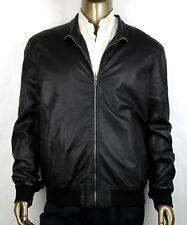 $2650 Gucci Men's Black Washed Light Napa Bomber Leather Jacket 60R 308706 1060