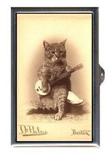 Cat Plays Banjo 1800s Photo Boston, Cute Coin, Mint, Pill Box USA Made