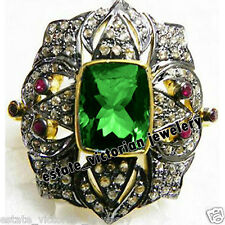 Victorian Inspired 2.47Cts Rose Cut Diamond Gemstone Studded Silver Ring Jewelry