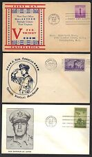 US 1944 46 THREE PATRIOTIC COVERS SHOWING CACHETS OF GENERAL PATTON & DEGAULLE
