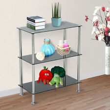 HOMCOM Glass Side Console Table 3 Tier Shelf Unit Free Standing