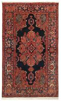 "Hand Knotted Antique Tribal Malayer Navy Red Wool Nomadic Oriental Rug 4'4"" x 7'"