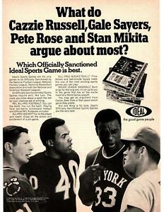1969 Ideal Sports Game Pete Rose Gale Sayers Cazzie Russell Stan Mikita Print Ad