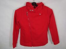 NWT NEW Tom's Ware Womens Red Cotton Hoodie Moto Jacket Coat SZ Medium