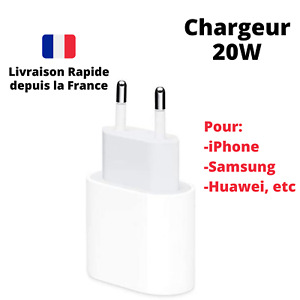 Chargeur Rapide 20W Type-C Adaptateur Secteur USB PD iPhone 12/ProMax/Mini