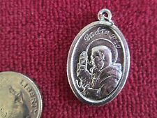 "Relic Medal of St.Padre Pio 3rd Class Silver Alloy 1"" x 1/2"" Wide  2.5 Grams!"