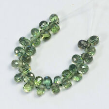Natural Green Sapphire Faceted Teardrop Briolette Beads (30)