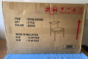 Noble House Furnishing Set of 2 Natural/Beige Chairs Open Box Great Condition!!!