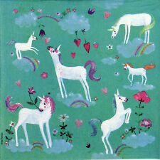 4 Single Table Party Paper Napkins for Decoupage Decopatch Craft White Unicorns