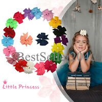 20pcs Baby Girls Hair Bows Ribbon Pinwheel Hair Clips Barrettes Toddlers Teens