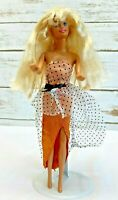 "MATTEL BARBIE Doll Long Blonde Hair Blue Eyes Orange Gown 12"" Tall Free Ship"