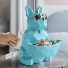 Cool Dog Tissue Paper Box Holder Tabletop Figurine Storage For Home Office Decor