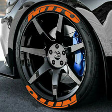 """NITTO FULLSET 8pieces Tire Letters decal stickers HIGH QUALITY 14"""" to 22"""" ORANGE"""