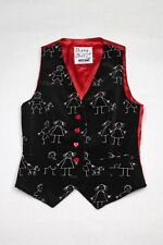 Vintage MOSCHINO CHEAP and CHIC RARE Vest Black Velvet With Little People & Dog