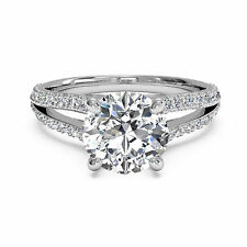 Moissanite White Gold Finish Ring 1.10 CT Diamond Engagement Rings Size K
