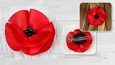 Hair Clip Silk Flower Red Poppy Dance Wedding Memorial Remembrance Day