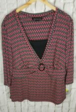 NEW Briggs New York Shirt Top Blouse Sz 2X 18W 20W Slimming Solution Red Blk #DT