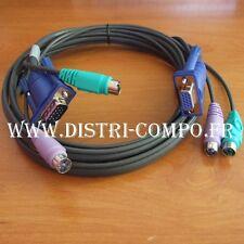 Cordon KVM ATEN ecran/clavier/souris VGA mâle femelle + 2 PS2 M 1m80 2L-5002P/C