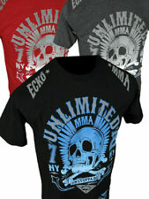Mens ECKO UNLTD T-Shirt TO THE GRAVE MMA SKULL FIGHTER in Black Red or Charcoal