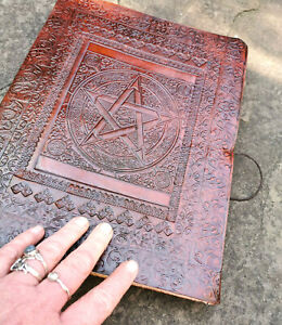 SALE Large Pentacle leather bound journal Book of Shadows Pagan Wiccan notebook