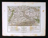 1865 Sydow Physical Map - South Germany Bergland - Bavaria Alps Bohemia Austria