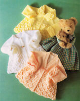 Baby Matinee Coats ~ Patterned Turn Back Cuffs & Collar ~ DK or 4Ply ~ To Knit