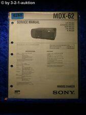 Sony Service Manual MDX 62 Mini Disc Changer (#6280)