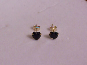 New  Ladies 9ct Yellow Gold Sapphire Heart Studs Earrings 5mm Hallmarked