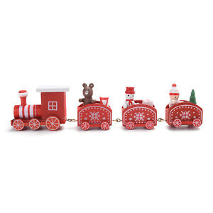 Red Christmas Themed Wooden Mini Train Ornaments Christmas Decoration Home Decor