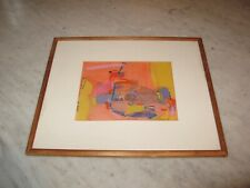 vintage SIGNED 1982 JEAN OLDS #7 mid-century modern mix med fabric Collage ART