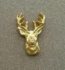 L Razza Lapel Tie Tack Pin Vintage Gold Tone Deer Buck Head by